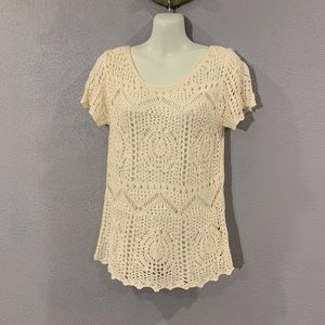 H&M Lace Shortsleeved Sweater Size XS Creme